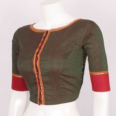 Hand Crafted Cotton Blouse With Zari Edging,Ikat Prints & Lining 10016974 Size - 34