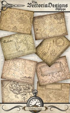 Antique Maps ATC images 3.5 x 2.5 inch VD0042 by VectoriaDesigns