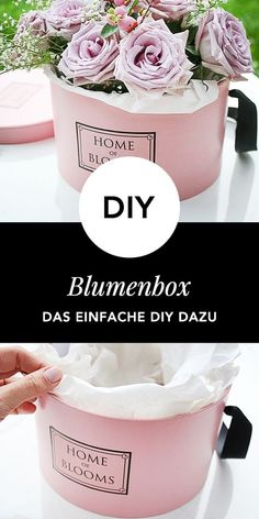 DIY: Flowerbox mit free Printables selber basteln - My best diy and crafts list Diy Flower Boxes, Flower Box Gift, Diy Flowers, Diy Wall Shelves, Floating Shelves Diy, Wine Bottle Crafts, Diy Box, Flower Crafts, Diy Gifts