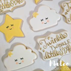 Twinkle Twinkle Little Star Baby Gender Reveal Party Decorated Cookies (stars and clouds) mateocookieco.com