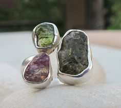 Raw Watermelon Tourmaline Ring by Belesas
