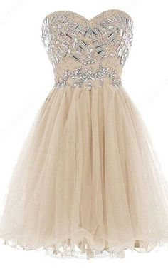 Nude Mini A Line Sweetheart Tulle Sleeveless Cascading Ruffles Crystal Strapless Short Homecoming Dress