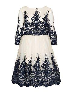 46630fe0cf8c CHI CHI Curve Embroidered cocktail dress in Cream   Dark-Blue