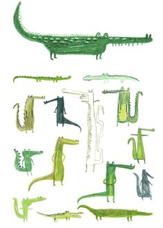 by Erica Salcedo. Theres just something inherently amusing about a cartoony crocodile -- a Peter Pan side effect, perhaps?Crocodiles by Erica Salcedo. Theres just something inherently amusing about a cartoony crocodile -- a Peter Pan side effect, perhaps? Art And Illustration, Crocodile Illustration, Animal Illustrations, Illustrations Posters, Motifs Animal, Grafik Design, Illustrators, Prints, Artwork