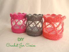 Crochet Jar Cosies. Free Pattern: http://veranadine.blogspot.com/2013/07/waxinelichtjes.html