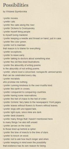 Possibilities by Wislawa Szymborska
