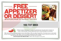Chilis coupons & Chilis promo code inside The Coupons App. Free appetizer or dessert with your entree at Chilis April Free Printable Coupons, Free Coupons, Chilis Coupons, Rude Customers, Restaurant Coupons, Grocery Coupons, Ways To Save Money, Crockpot Recipes, Entrees