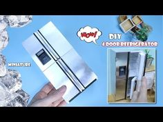 MINIATURE DIY - 4 door stainless steel refrigerator(How To Make Dollhouse Refrigerator) - hardboard paper size - high X wide X long - 1 piec. Dollhouse Miniature Tutorials, Miniature Dollhouse Furniture, Miniature Kitchen, Miniature Dolls, Dollhouse Miniatures, Dollhouse Door, Dollhouse Design, Doll House Plans, My Doll House
