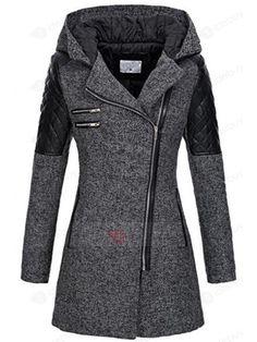 Tidebuy.com bietet hohe QualitätSchief Zip Mittellang Damen Mantel Mit KapuzeWir haben mehr Arten fürMäntel