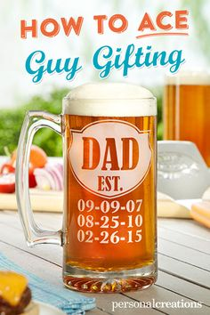 A Personal Creations Exclusive! Celebrate a special man with an oversized beer mug featuring the dates that changed his life. Glass mug has a sturdy handle and a heavy base with an attractive starburst design. Bday Gifts For Him, Diy Gifts For Mom, Dad Gifts, Beer Gifts, Fathers Gifts, Fathers Day Presents, Homemade Gifts, Personalized Fathers Day Gifts, Fathers Day Crafts