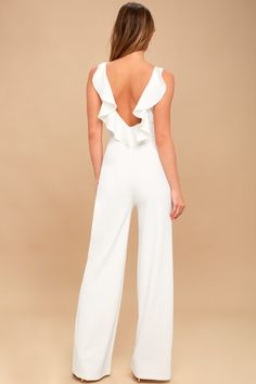Enamored White Backless Jumpsuit 4