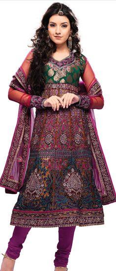Multicolour Net #Anarkali Churidar #Kameez With #Dupatta @ $113.46 | Shop @ http://www.utsavfashion.com/store/sarees-large.aspx?icode=ksa4