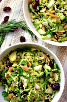 Shredded Brussels sprouts are topped with toasted rosemary, almonds, and cranberries. Maple-shallot vinaigrette adds depth and flavor to this warm salad.