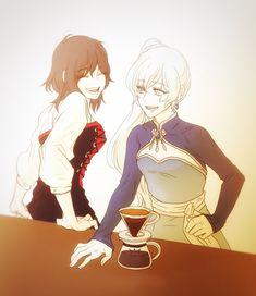 Coffee time with Ruby and Weiss (toutetsumon) : RWBY Fan Art Anime, Anime Nerd, Manga Art, Manga Anime, Anime Kiss, Rwby Anime, Rose Tumblr, Rwby White Rose, Rwby Weiss
