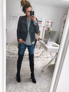 These 5 Sale Items Work with Any Outfit - Hello Fashion. Grey cold shoulder sweater+skinny jeans+black over the knee boots+grey moto jacket. Fall Casual Outfit 2017