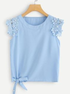 To find out about the Knot Side Pearl Beaded Solid Top at SHEIN, part of our latest Women Tops ready to shop online today! Mode Outfits, Fashion Outfits, Womens Fashion, Stylish Outfits, Blouse Designs, Fashion News, Fashion Trends, Tank Tops, My Style