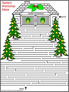 FREE Printable Christmas Mazes page 2 - Merry Games