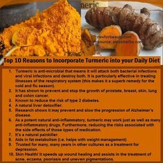 Top 10 reasons to incorporate turmeric into your daily Diet
