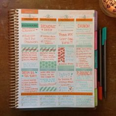 shades of orange and seafoam... cute color combo! #eclifeplanner