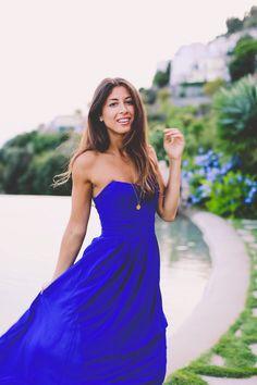 Mimi Ikonn | Royal Blue Maxi Dress, Positano, Amalfi Coast, Italy