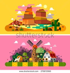 Village sunset landscapes: canyon, desert, cactus, mill, farm buildings, trees, field, bushes, hay. Landscapes of America, Wild West. Vector flat illustrations and backgrounds