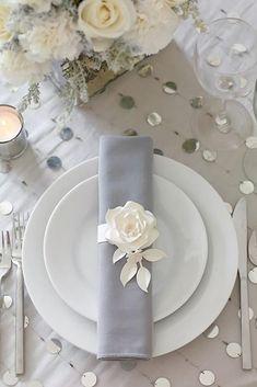 30 Silver Wedding Decor Ideas ❤️ silver wedding decor ideas place setting with white rose philip ficks Wedding Table Decorations, Wedding Table Settings, Place Settings, Setting Table, Elegant Table Settings, Decor Wedding, Wedding Centerpieces, Mod Wedding, Trendy Wedding