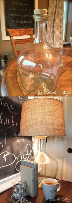 Ingeniosa lámpara DIY - theconcretecottage.com - DIY Glass Bottle Lamp