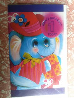 Vintage Greeting Card. Eco friendly. 1960's Birthday 1 year old. One today . Elephant  mouse mice 60's. Australia.. $4.00, via Etsy.