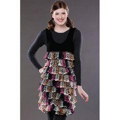 great idea for a little girl's dress or jumper.  Starbella yarn by Premier