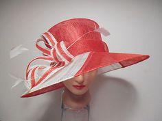 Hat Red White Sinamay x Wide Brim Kentucky Derby Curls Church Easter New   eBay