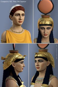 Digital portrait of Cleopatra VII, Egyptian queen and pharaoh, reconstructed from contemporary sources Egyptian Queen, Ancient Egyptian Art, Cleopatra History, Forensic Facial Reconstruction, Mark Antony, Digital Portrait, The Past, Illustration, 3d Modeling