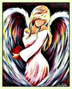 Angelheart 🌠 For you. Angel Wings Art, Angel Wings Drawing, Easy Canvas Painting, Easy Paintings, Canvas Art, Guardian Angel Pictures, Angel Artwork, Christmas Paintings On Canvas, Face Art