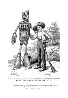 Signed Robot Jim and Huckleberry Finn Frontispiece 5x7. $15.99, via Etsy.  #geek #drawings #crazyisgood