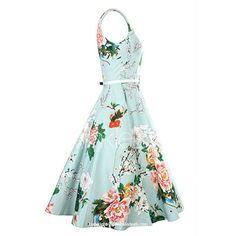 Vintage Jewel Neck Sleeveless Floral Print Belted A-Line Dress For Women