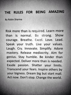 The Rules for Being Amazing!