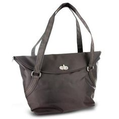 Travelon Large Tote With Flap and Turn Lock Closure (Brown) X278-237494