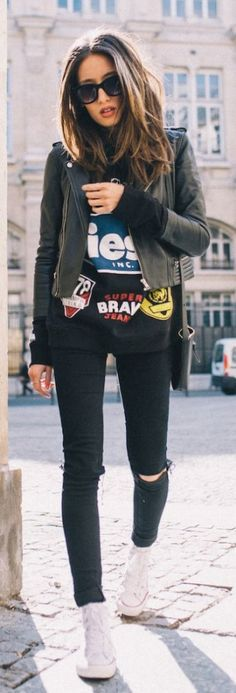 Why black ripped skinny jeans are your next wardrobe staple & 30 ways to wear them  logo tshirt sneakers biker jacket