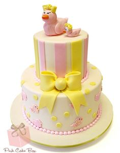 Pink and yellow ducky cake