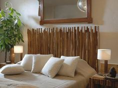 rustic style homemade headboard idea