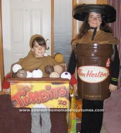 Homemade Tim Horton's Coffee and Box Of Timbits Costumes: We started looking at ideas for cool costumes from your website. Since we live in Canada it was easy to want to do up our favorite Coffee place Tim Horton's.