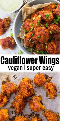 These vegan cauliflower wings are the perfect vegan comfort food! They're super … These vegan cauliflower wings are the perfect vegan comfort food! They're super easy to make and so delicious! More vegan recipes. Vegan Recipes Beginner, Vegan Dinner Recipes, Veggie Recipes, Whole Food Recipes, Cooking Recipes, Healthy Recipes, Dishes Recipes, Easy Vegan Meals, Vegan Lunches