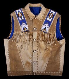 Native American Buckskin Beaded Vest, 20th Century Native Design, Blue Satin, Old West, Nativity, Native American, Vests, Native Americans, Bethlehem, Native Indian