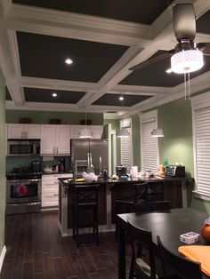 Coffered ceiling, like the floors to Open Basement, Basement Ideas, Dining Rooms, Kitchen Dining, Kitchen Decor, Country Chic Kitchen, Coffered Ceilings, Reclaimed Barn Wood, Wood Accents