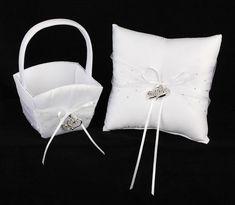 White Heart Charm Flowergirl Basket and Ringbearer Pillow Set