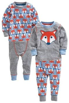 Fox All Over Print Snuggle Pyjamas Two Pack (9mths-6yrs)