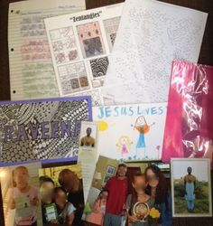 """Raveena (19) May 2015  *Letter theme: introducing our family; my Salvation story    * Inside cellophane party bag: family photos, copy of her own Compassion photo and bookmark *Also included: laminated name card that I """"zentangled,"""" zentangle patterns for her to try, an extreme dot-to-dot page, and picture my daughter drew for her."""
