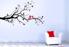 Tree Wall Decals Love Birds Nursery Wall Decal Birds Branch Nature Children Baby Girl 40168. $49.00, via Etsy.