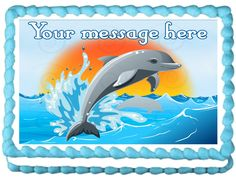 "DOLPHIN+Edible+image+cake+topper+1/4+sheet+(10.5""+x+8"")"