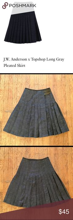 JW Anderson x Topshop long denim pleated skirt Collaboration btw JW Anderson x Topshop from spring 2013. Material is a thick denim. Gently worn and in great condition. Size U.K. 8/US 4. jw anderson x topshop Skirts Midi