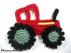 Traktor Häkel Applikation Crochet - Freie Farbwahl Einfach nach Kauf mir die Wunschfarben (Nummern mitteilen)  Zum aufnähen und Verzieren auf Kleidungen, Taschen, Tunikas, Kinder/Babykleidung,...